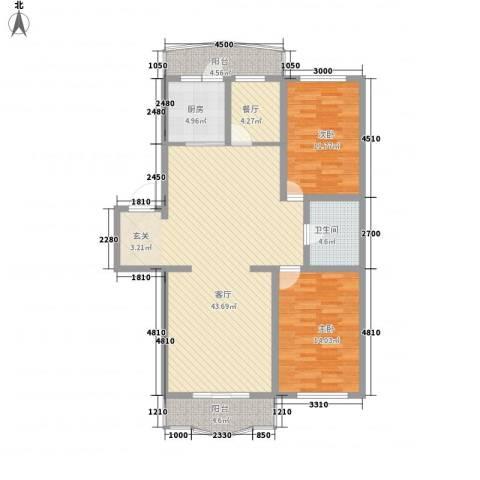 龙逸花园2室2厅1卫1厨117.00㎡户型图