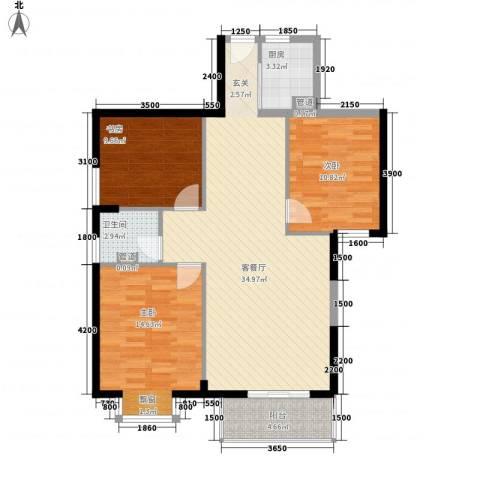 浦南花园3室1厅1卫1厨113.00㎡户型图
