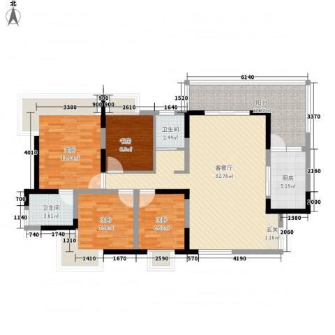 大朗中心花园4室1厅2卫1厨128.00㎡户型图