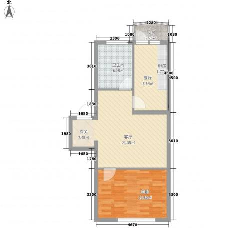 龙逸花园1室2厅1卫0厨72.00㎡户型图