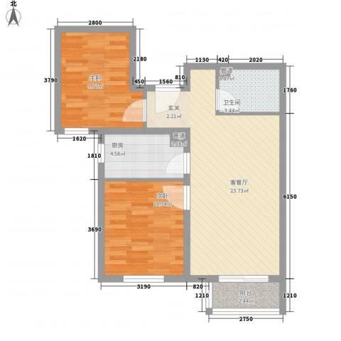 金桥园2室1厅1卫1厨79.00㎡户型图