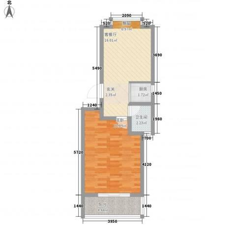 帝苑东领鉴筑1室1厅1卫1厨62.00㎡户型图