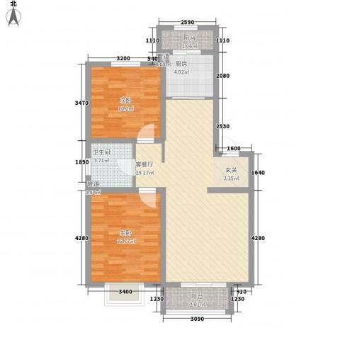 保亿风景九园二期2室1厅1卫1厨94.00㎡户型图