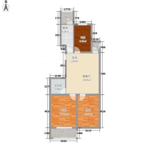 七府苑3室1厅1卫1厨110.00㎡户型图