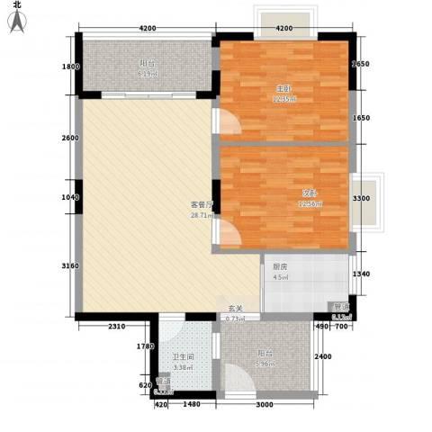 厦商物流宿舍2室1厅1卫1厨105.00㎡户型图