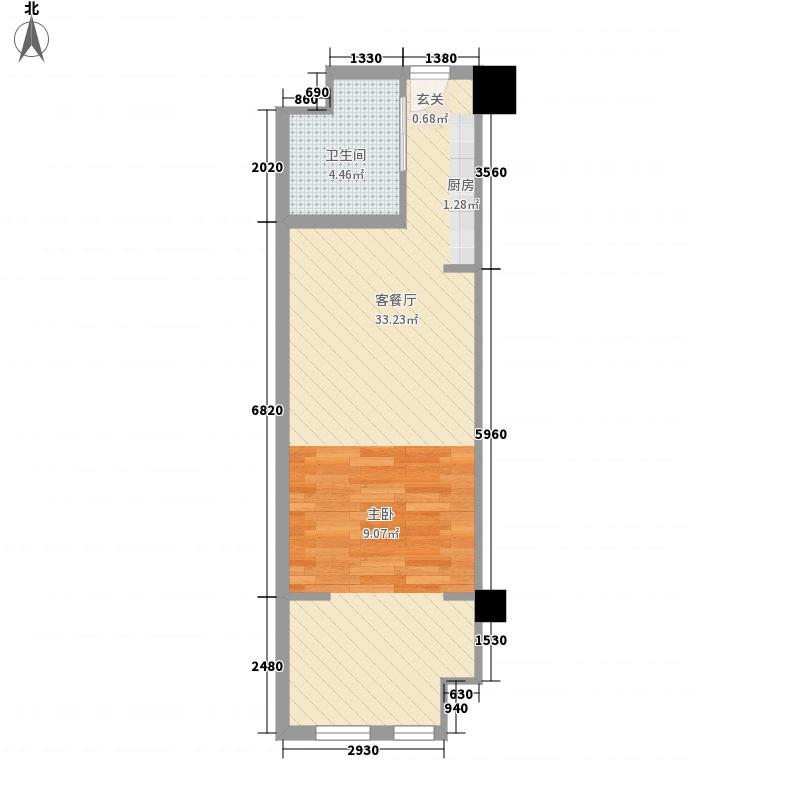 吉瑞泰盛国际生活广场52.00㎡H户型1室1厅1卫1厨