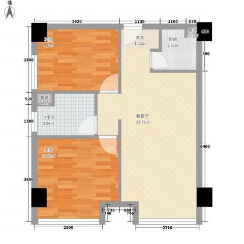 保亿风景九园二期2室1厅1卫1厨72.00㎡户型图