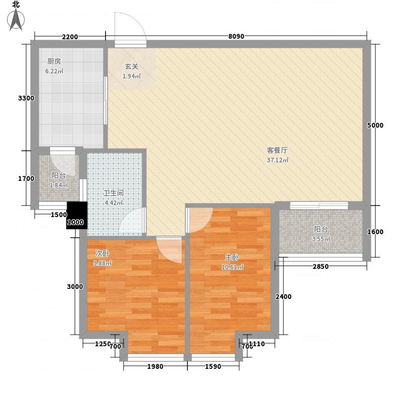 东龙世纪花园五期4.42㎡B户型2室2厅1卫