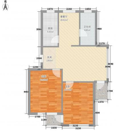金润花园2室1厅1卫1厨66.02㎡户型图