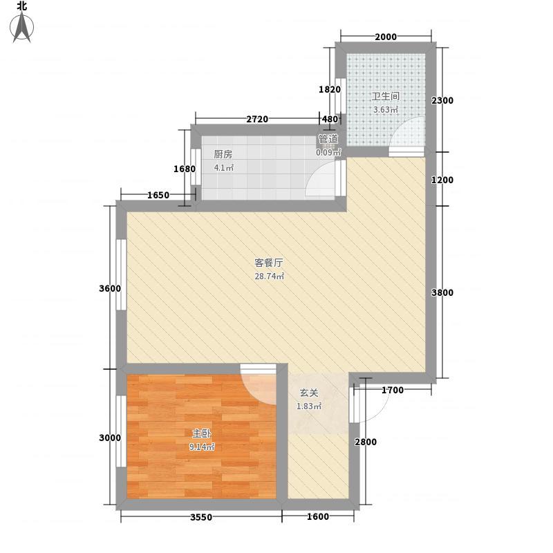 叶盛园64.12㎡小区户型1室
