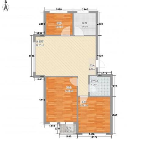 金润花园3室1厅1卫1厨85.00㎡户型图