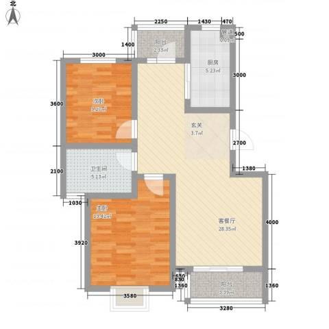 厦商物流宿舍2室1厅1卫1厨98.00㎡户型图