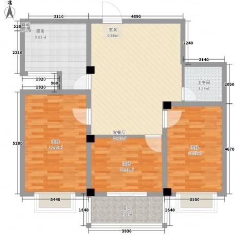 万丰源3室1厅1卫1厨117.00㎡户型图