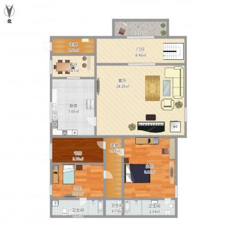 西秀园3室2厅3卫1厨90.00㎡户型图