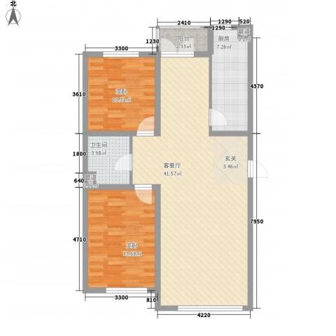 罗曼松鼠湾2室1厅1卫1厨79.35㎡户型图