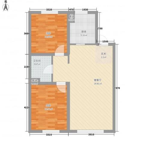 龙湖・紫都城2室1厅1卫1厨87.00㎡户型图