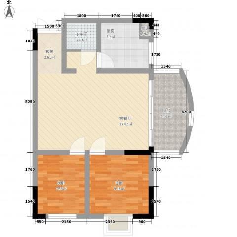 江南人家2室1厅1卫1厨85.00㎡户型图