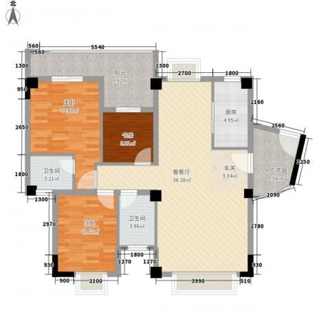 富佳苑3室1厅2卫1厨112.00㎡户型图