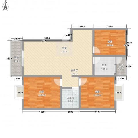 水岸新城3室1厅1卫1厨119.00㎡户型图