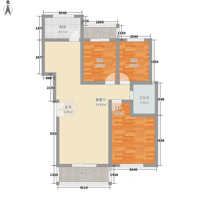祈福吉利花园118.76㎡N户型3室2厅1卫