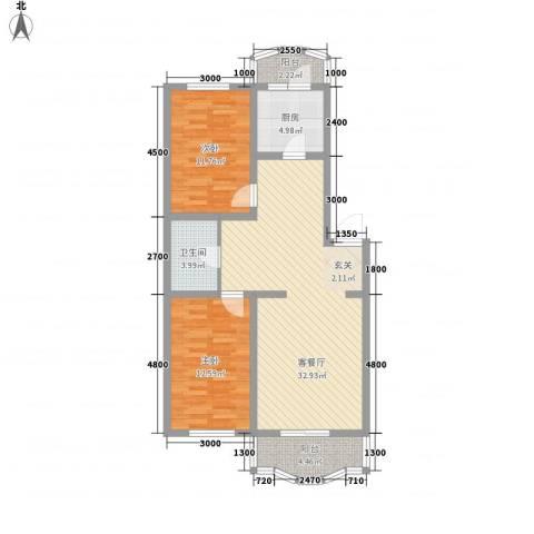 龙逸花园2室1厅1卫1厨72.92㎡户型图