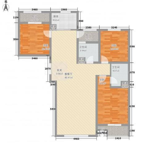水岸新城3室1厅2卫1厨147.00㎡户型图