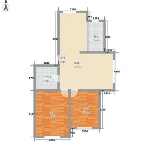 龙逸花园2室1厅1卫1厨78.25㎡户型图