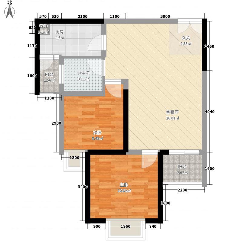 盛世年华77.60㎡1户型2室2厅1卫1厨