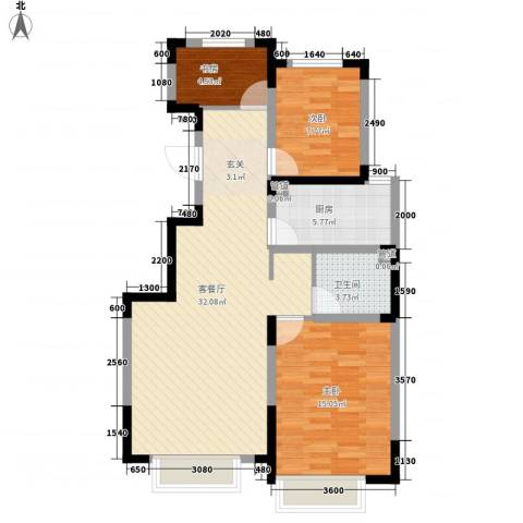力旺美林3室1厅1卫1厨69.06㎡户型图