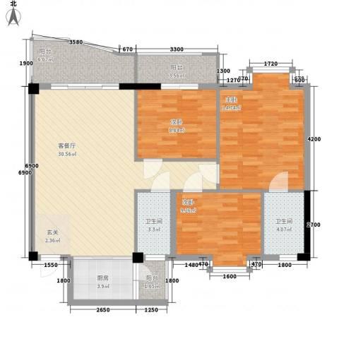 昌泰盛世家园3室1厅2卫1厨99.00㎡户型图