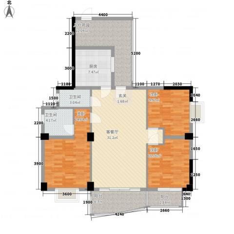 昌泰盛世家园3室1厅2卫1厨120.00㎡户型图