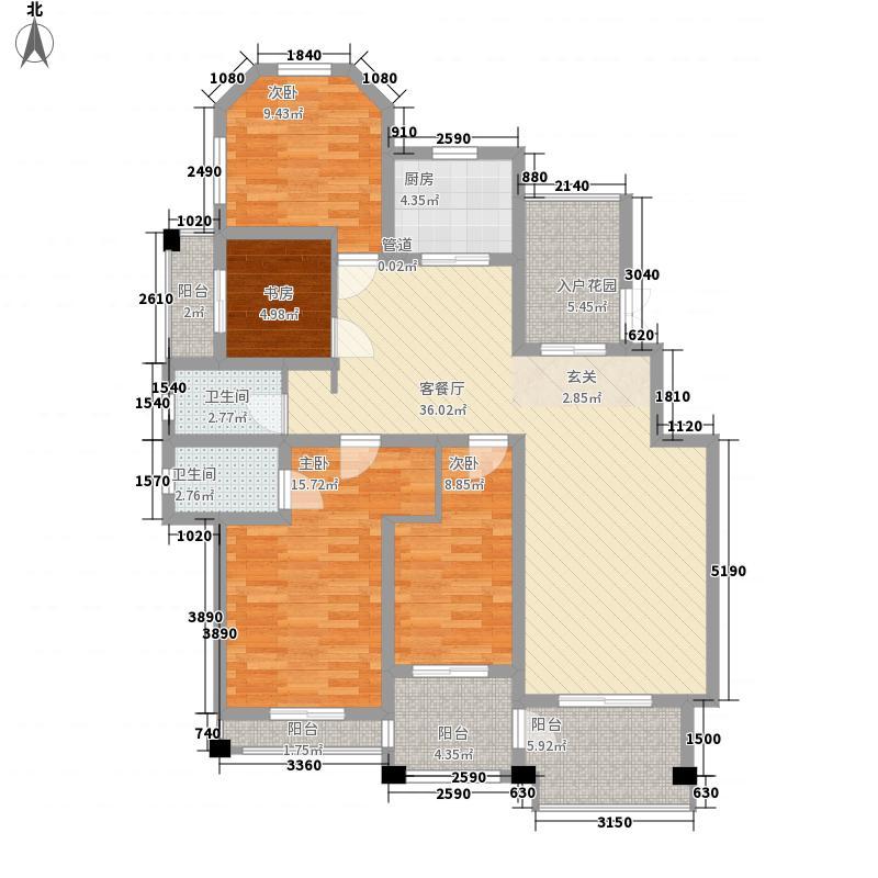 晖达御景苑153.00㎡洋房I户型4室2厅2卫1厨