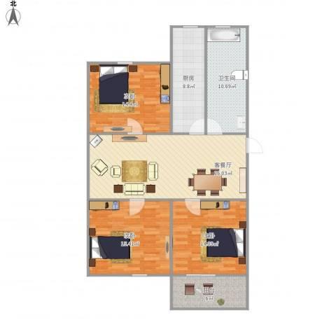 水清二村-322-1023室1厅1卫1厨128.00㎡户型图