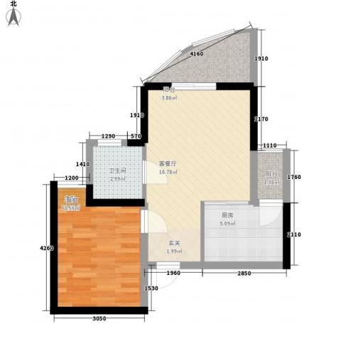 海天阳光花园1室1厅1卫1厨53.00㎡户型图