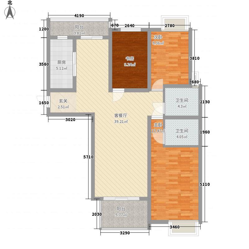 橄榄城141.00㎡二期高层住宅B3户型3室2厅2卫1厨