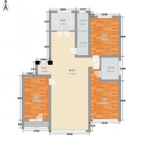 澳南苑3室1厅3卫1厨124.00㎡户型图