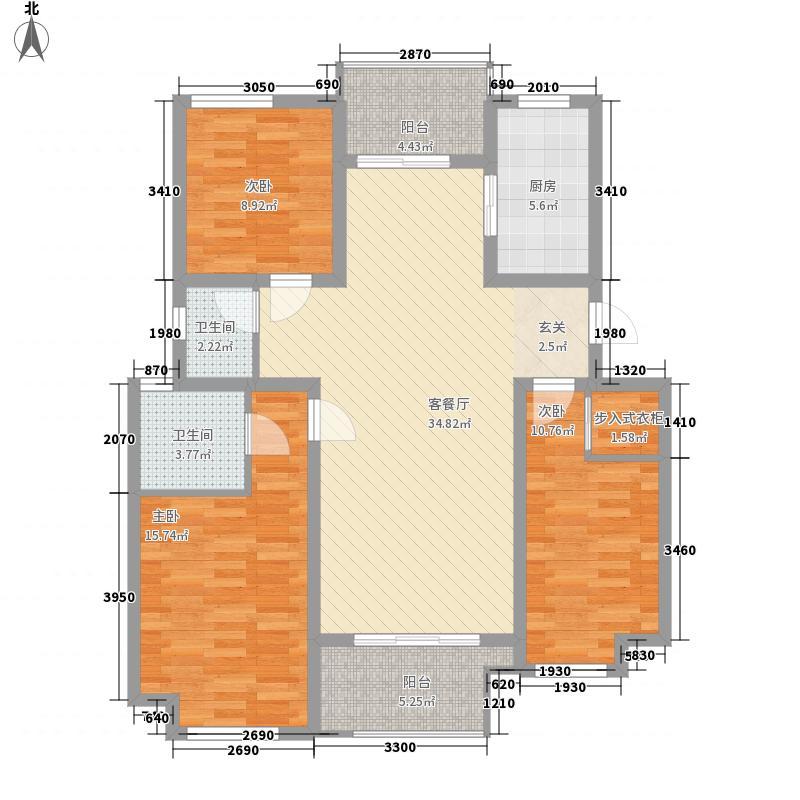 橄榄城133.66㎡二期23#A2-2b户型3室2厅2卫1厨