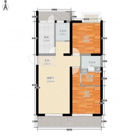 名门华轩2室1厅2卫1厨95.00㎡户型图