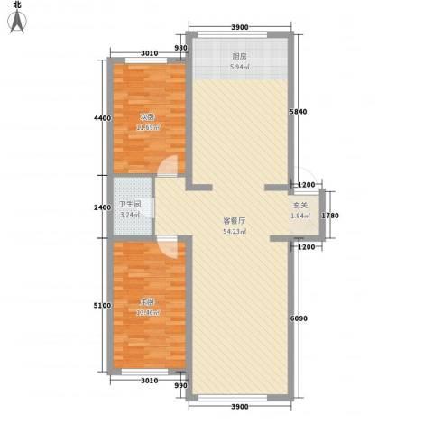龙逸花园2室1厅1卫0厨82.61㎡户型图