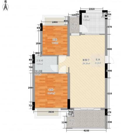 金旺新苑2室1厅1卫1厨77.00㎡户型图