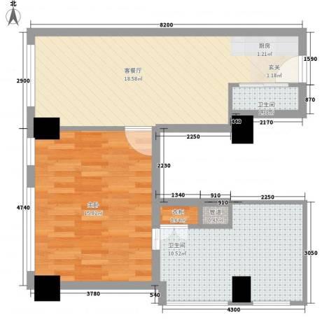 丽柏国际公寓1室1厅2卫0厨68.00㎡户型图