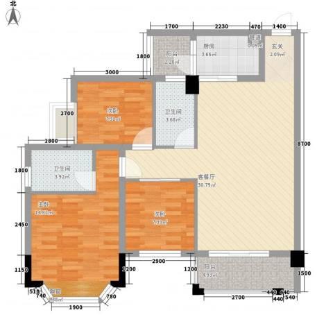 华润花园3室1厅2卫1厨78.87㎡户型图