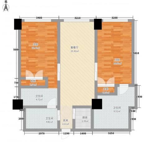 丽柏国际公寓3室1厅2卫1厨115.00㎡户型图