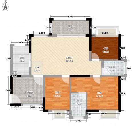 金鸿利嘉阁3室1厅2卫1厨120.00㎡户型图