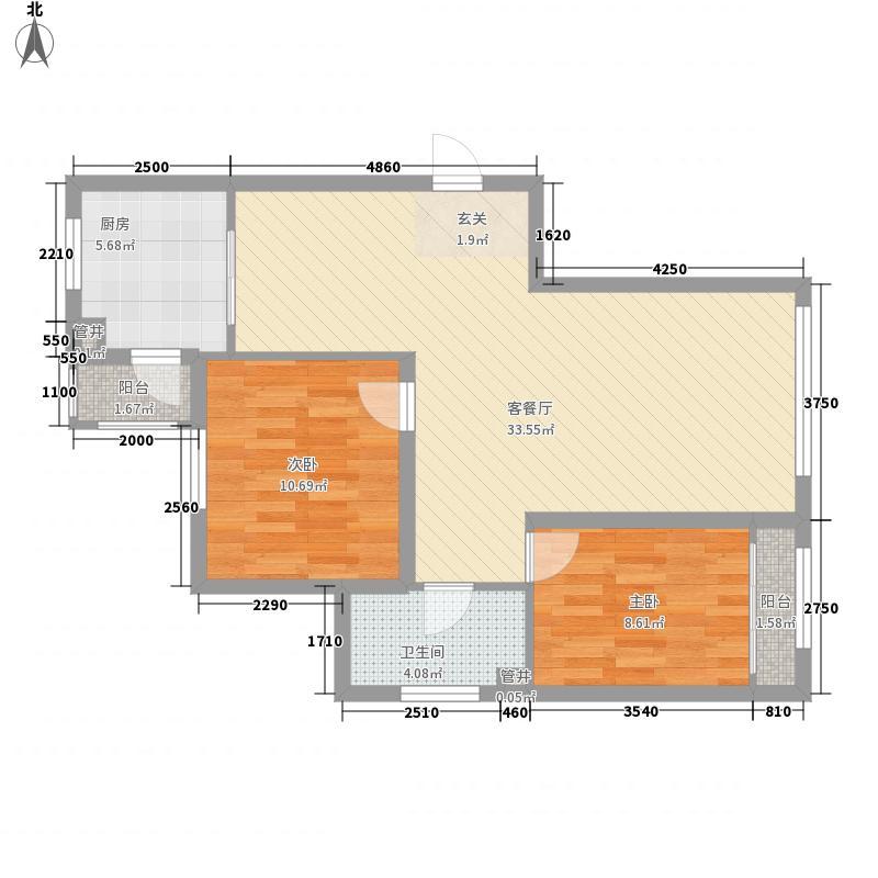 时尚印象94.00㎡时尚印象户型图B户型2室2厅1卫1厨户型2室2厅1卫1厨
