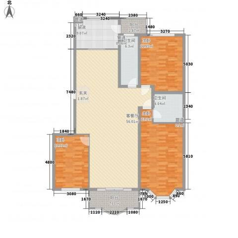 华宇绿洲3室1厅2卫1厨196.00㎡户型图