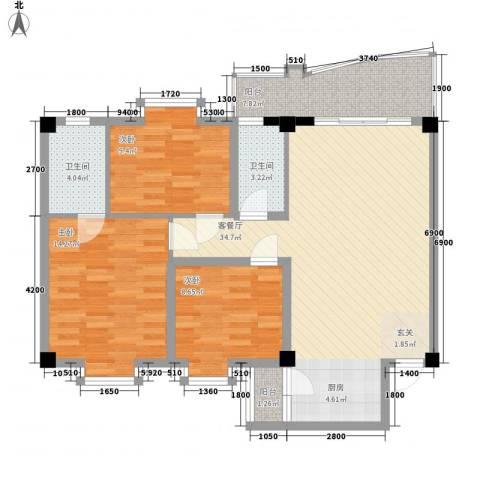 昌泰盛世家园3室1厅2卫0厨98.00㎡户型图