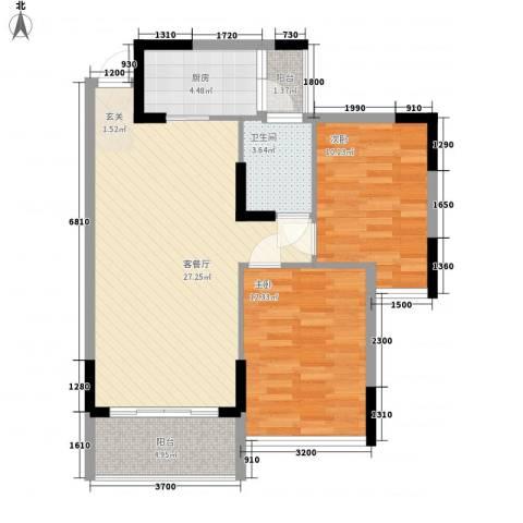 金旺新苑2室1厅1卫1厨64.15㎡户型图