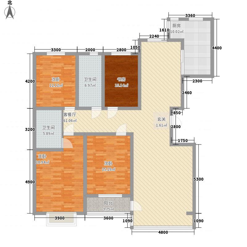 地矿小区1户型4室2厅2卫1厨