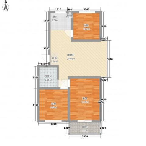 东岸上城3室1厅1卫0厨88.00㎡户型图